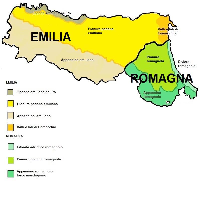 Emilia Romagna: confini e territori