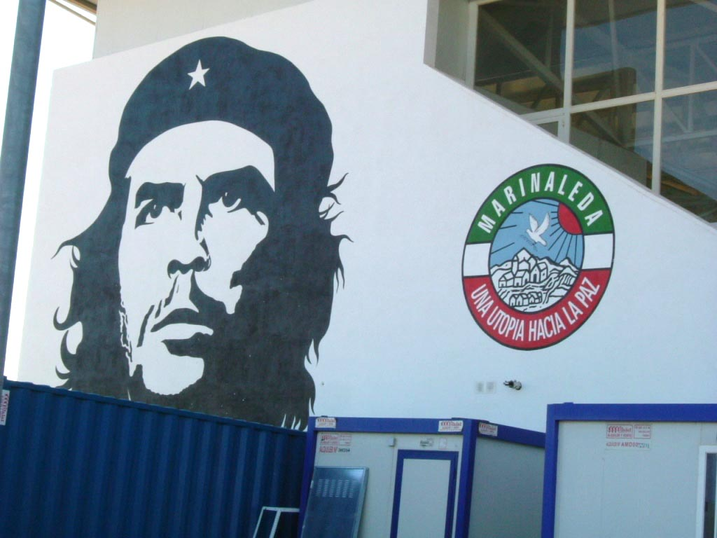 L'immagine di Che Guevara su un muro del municipio di Marinaleda