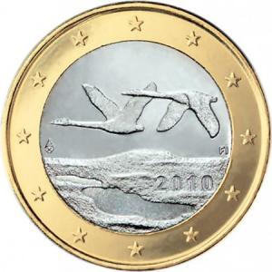 Quella da 1 euro è la moneta sulla quale in Finlandia hanno riprodotto l'immagine di due cigni in volo