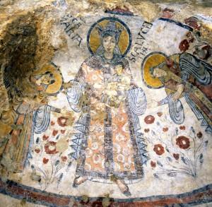 Un particolare della Cripta del Peccato Originale scoperta nel 1963 in una grotta di Matera.