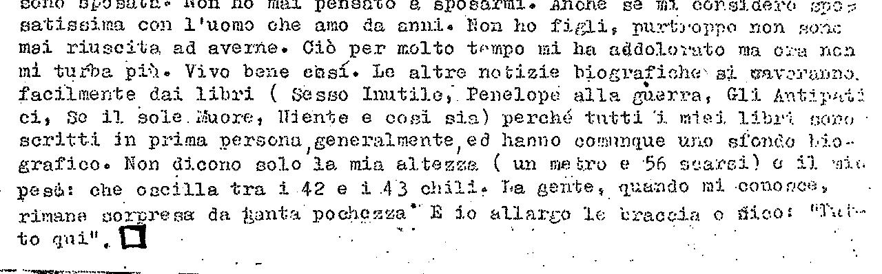 Un brano del dattiloscritto autobiografico di Oriana Fallaci mandato da New York a Salvatore Giannella.