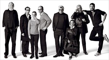 Da sinistra John Baldessari, Carsten Holler, Nathalie Djurberg, Thomas Demand, Patrizio Bertelli, Miuccia Prada, Germano Celant e Francesco Vezzoli