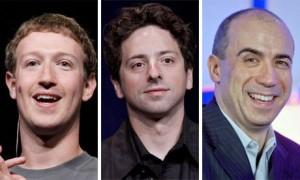 Mark Zuckerberg, Sergey Brin e Yuri Milner.