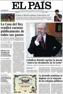 la homepage del sito di El Pais, del 24 aprile 2013