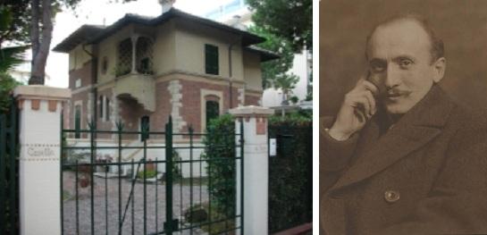 Villa Palanti e, a destra, un ritratto di Giuseppe Palanti (ad opera di Emilio Sommariva)