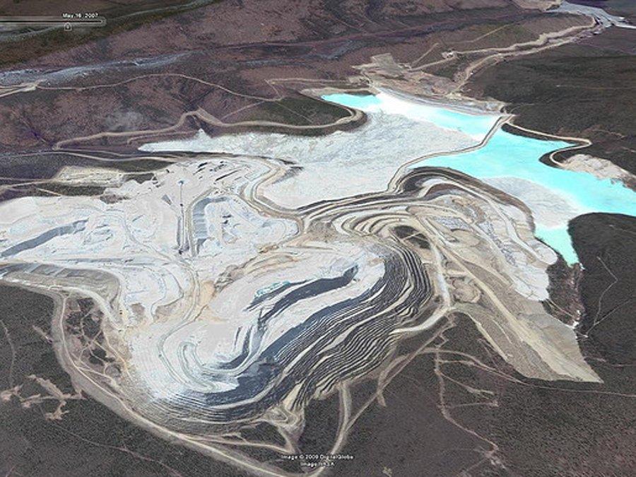 Una veduta aerea di Fort Knox, miniera d'oro a nord di Fairbanks