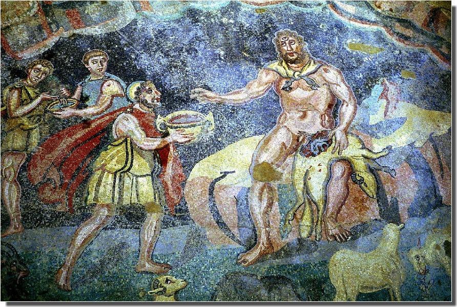 Ulisse e Polifemo, mosaico dalla Villa Romana del Casale di Piazza Armerina