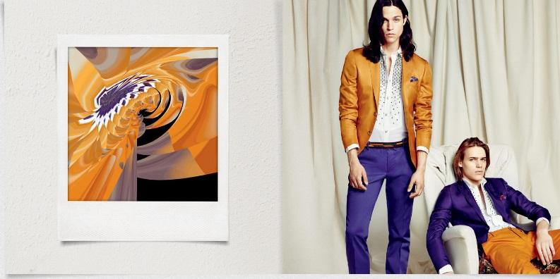 Nel catalogo di Kean Etro per la collezione uomo primavera-estate 2013 ogni abito è affiancato all'interpretazione artistica digitale Streamcolors.