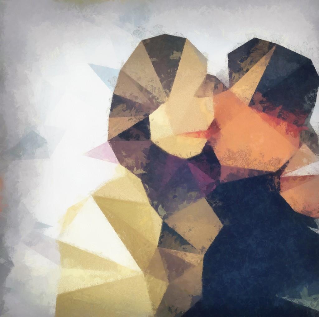 L'immagine di una coppia rielaborata con effetti Streamcolors per essere applicata al muro di una casa del tutto personale