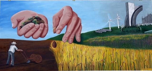 Pannello-tema-Expo-2015-Marina-Pelucchi-contrada-Monda-palio-contrade-dairago-atlante-paesi-dipinti