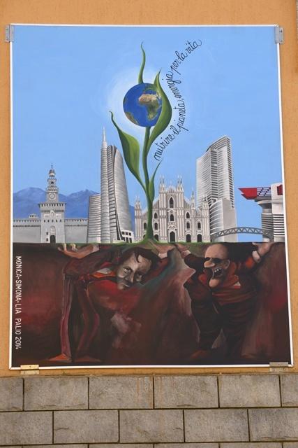 Pannello a tema Expo 2015 realizzato da Lia Rinni, Monica Calloni, Simona Bosi per la contrada 'A Kruzeta', Palio delle Contrade 2014.