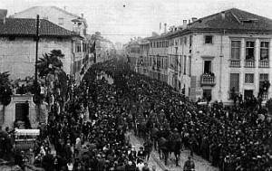Udine, 3 ottobre 1921. Trasporto delle salme del Milite Ignoto.