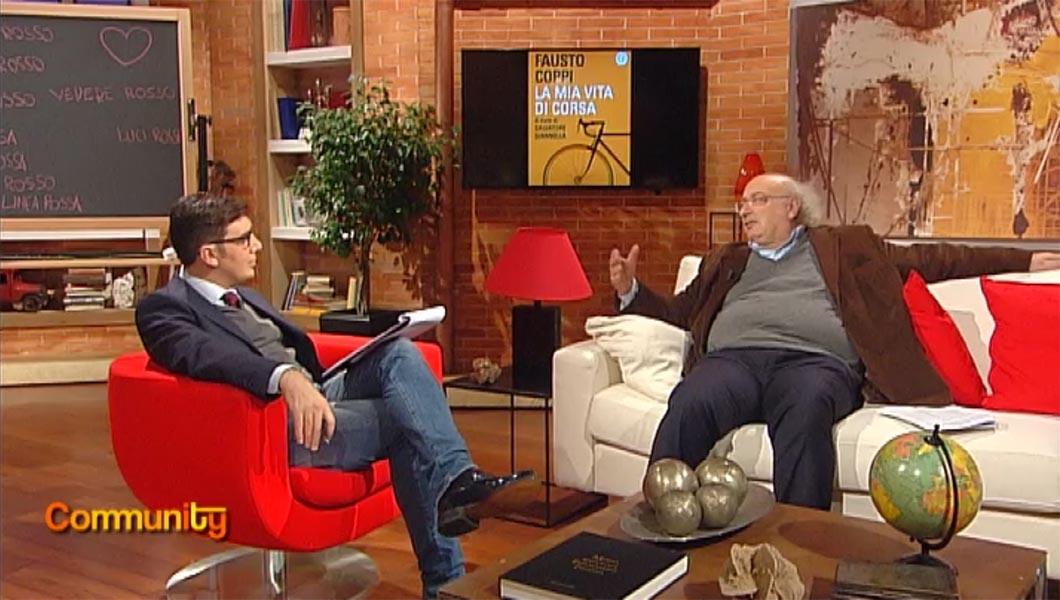 Venga a presentare il libro <br />su Fausto Coppi da noi, <br />in Rai. Firmato: <em>Community</em>