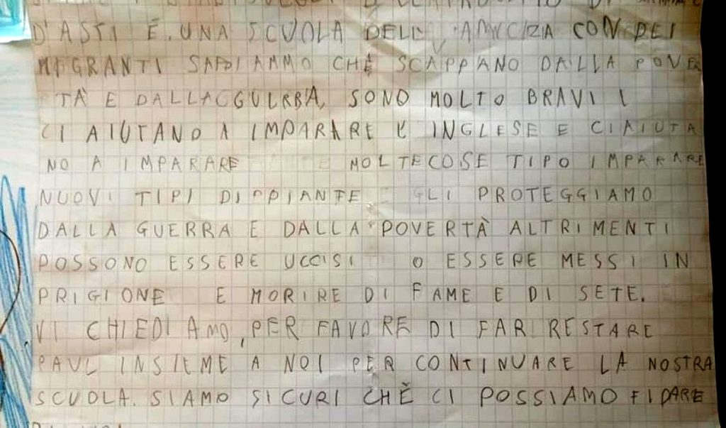 La lettera che i bambini di Serravalle d'Asti hanno scritto a Salvini