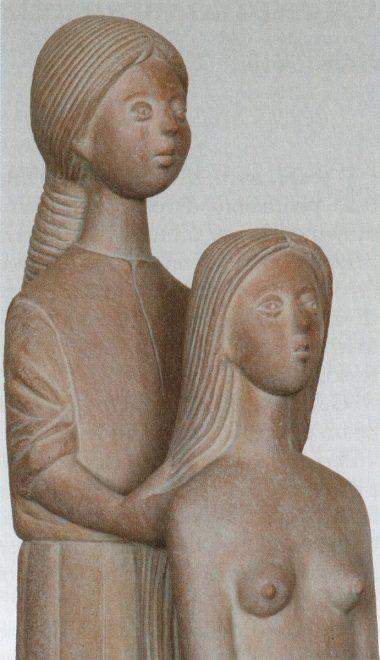 Antonio Di Pillo - 'Scena di toeletta' (La pettinatura), terracotta patinata, particolare