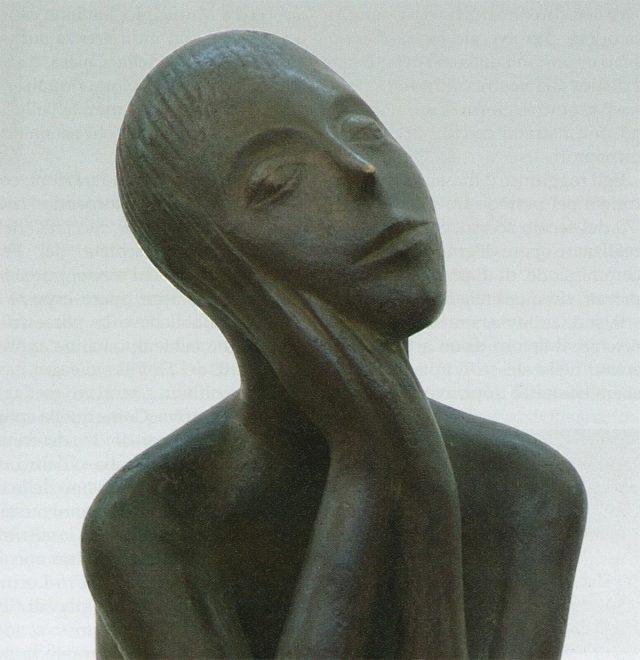 Antonio Di Pillo - 'Giovinetto seduto in meditazione', c. 1960, bronzo patinato nero, particolare