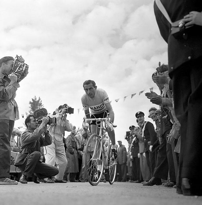 Cervia, 29 agosto 1955, Giro d'Italia. Fausto Coppi cede a Fornara per soli 11'' in una cronometro di 50 km