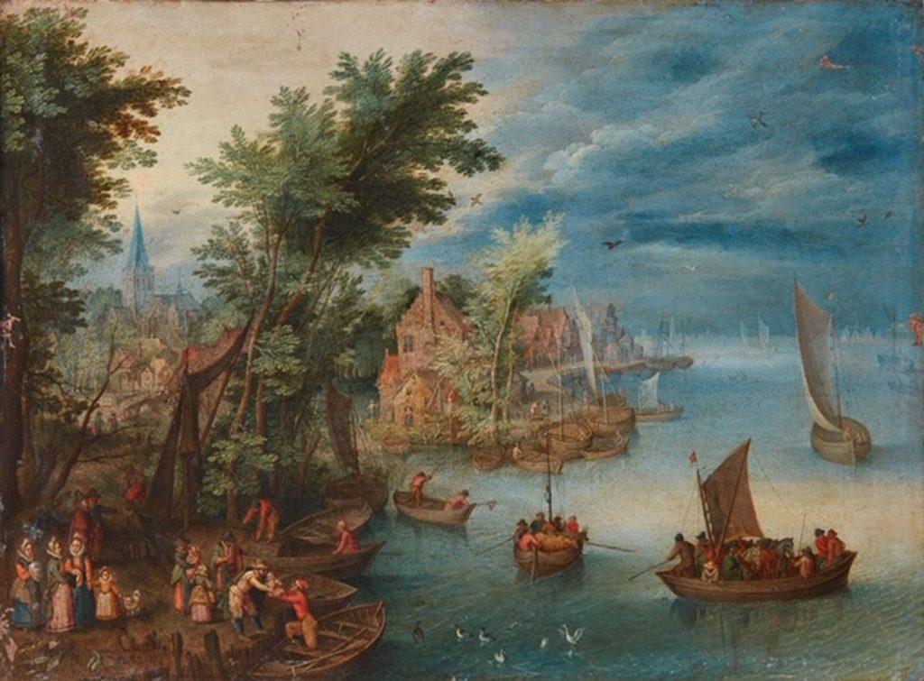 Jan Brueghel il Giovane, Paesaggio fluviale, 1660 ca.