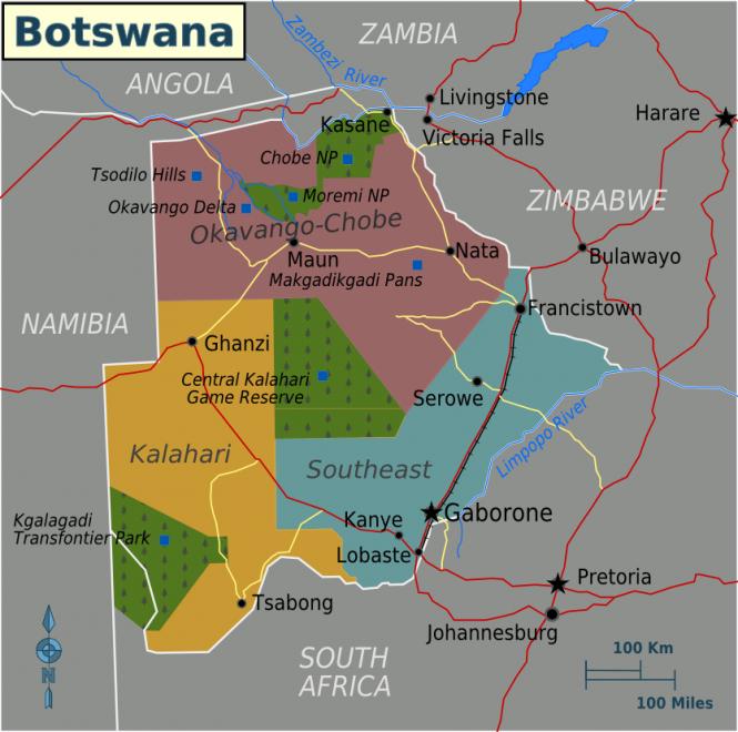 Mappa del Botswana