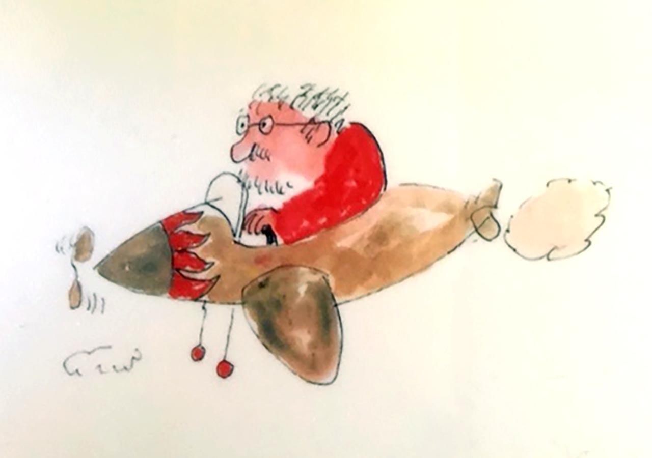 """<span class=""""magro"""">Dall'aeroplanino Tinin, papà creativo di Dodò <br />e del presepe sulle barche a Cesenatico, <br />saluta per l'ultima volta la sua gente e la riviera</span>"""