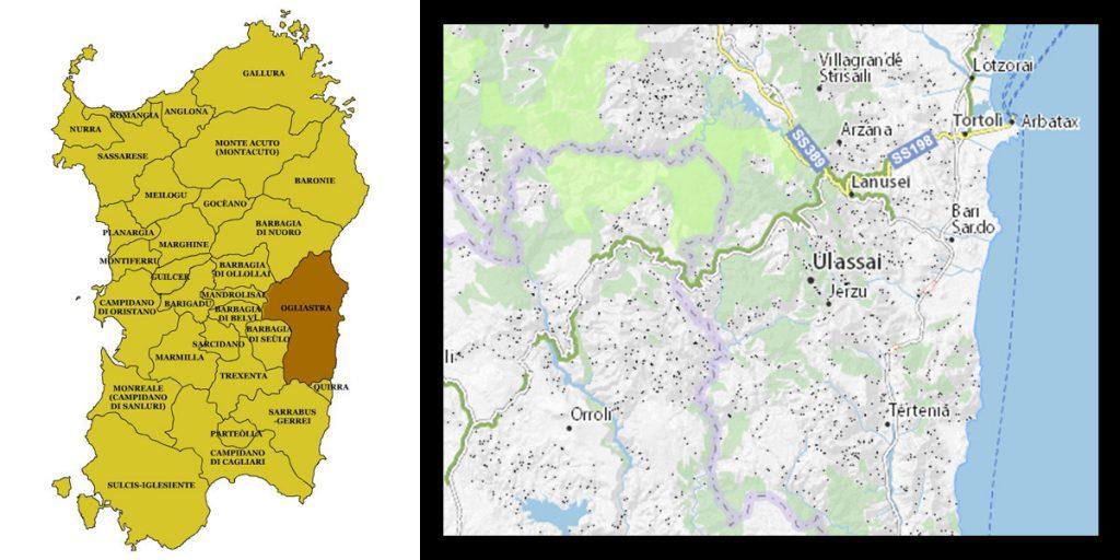 Ulassai mappa