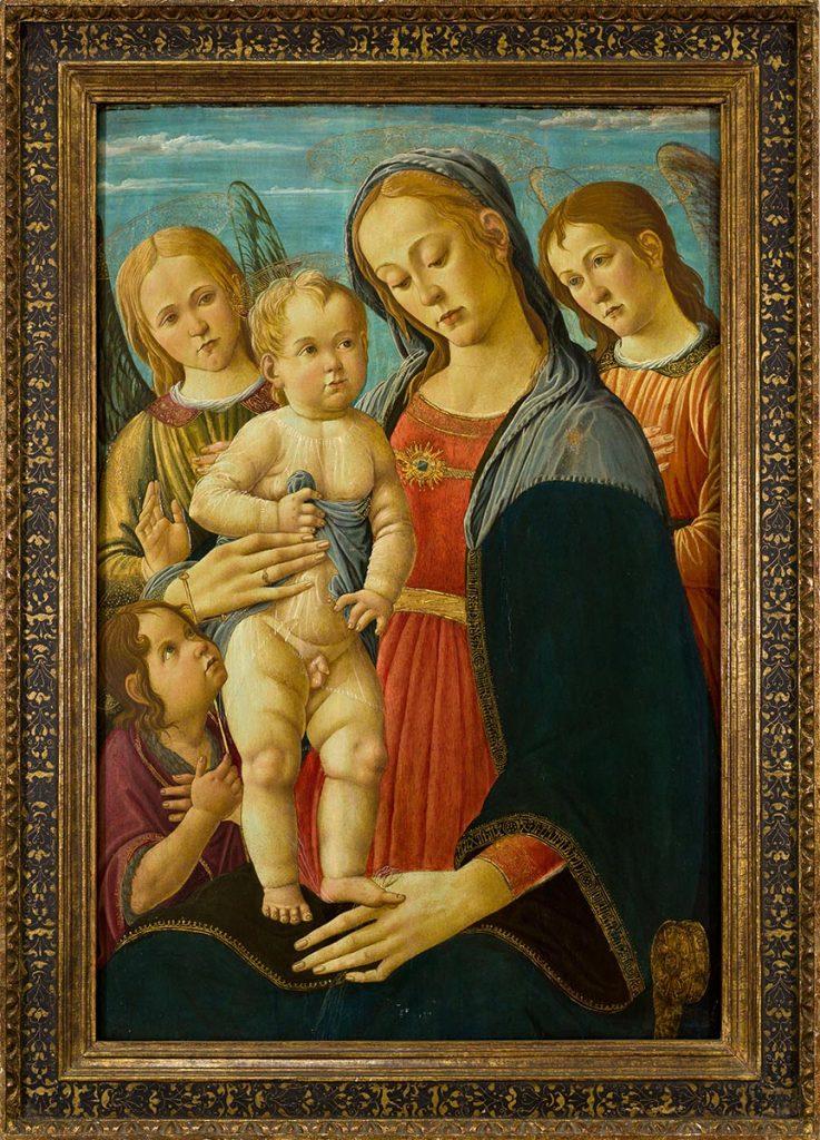 Jacopo del Sellaio, 'Madonna col Bambino, san Giovannino e due angeli', 1480-1485