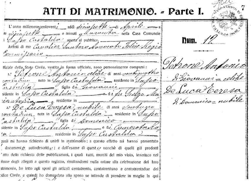 Atto matrimonio - Antonio e Teresa De Luca Petrone