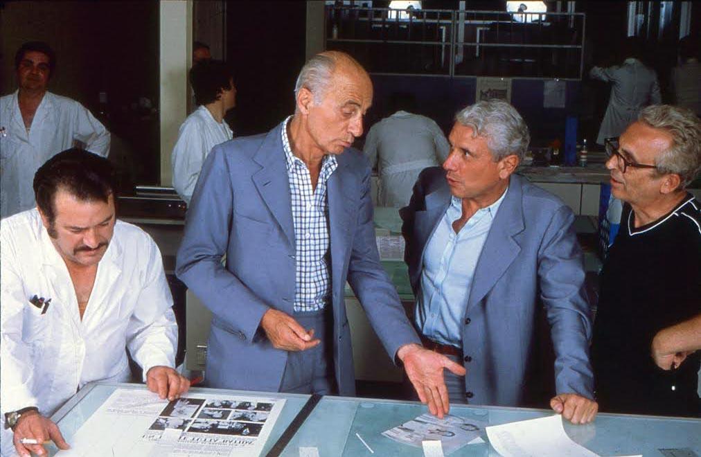 Indro Montanelli e Mario Cervi in tipografia