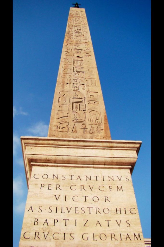 Constantinus per crucem victor a S. Silvestro hic baptizatus crucis gloriam propagavit