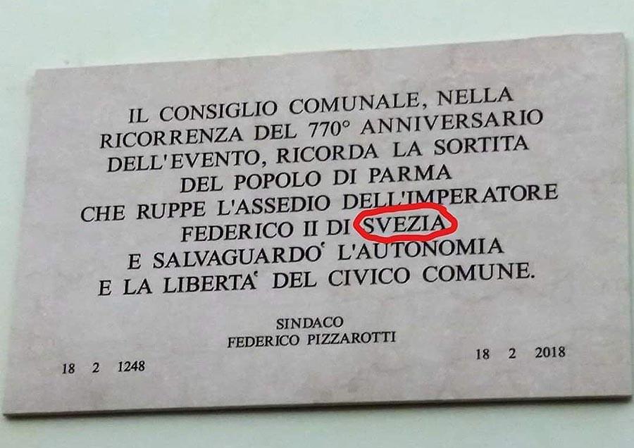 Parma - Pizzarotti, targa Federico di Svezia