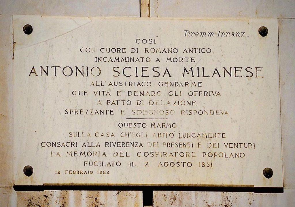 Targa sbagliata Antonio Amatore Sciesa