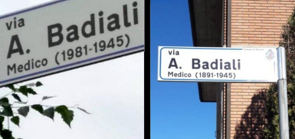 Targa sbagliata Via Alfredo Badiali 1981 1891